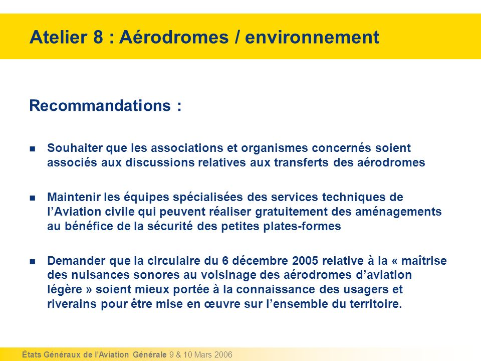Atelier 8 : Aérodromes / environnement