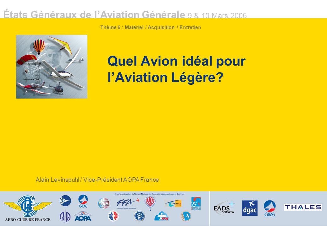 Quel Avion idéal pour l'Aviation Légère