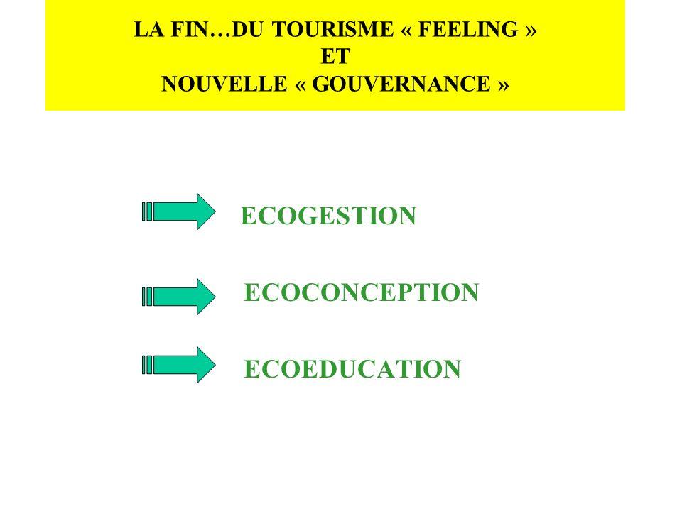 LA FIN…DU TOURISME « FEELING » ET NOUVELLE « GOUVERNANCE »