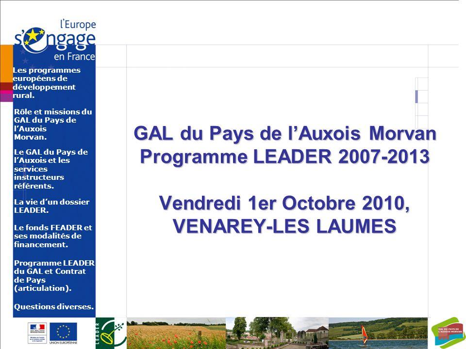 Les programmes européens de développement rural.