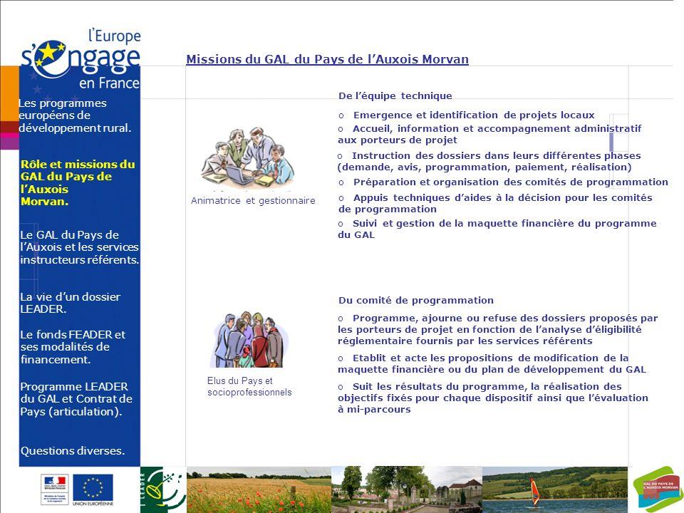 Missions du GAL du Pays de l'Auxois Morvan