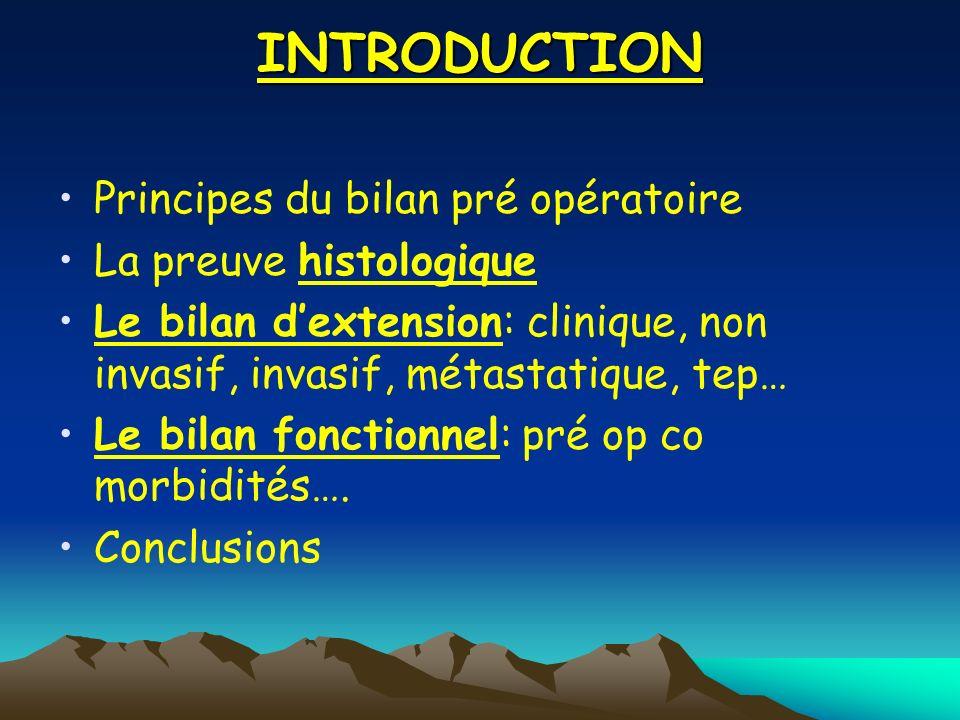 INTRODUCTION Principes du bilan pré opératoire La preuve histologique