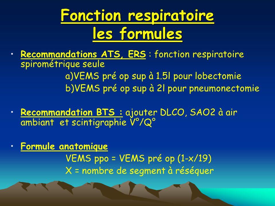 Fonction respiratoire les formules
