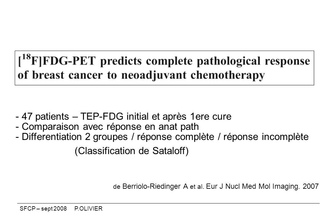 47 patients – TEP-FDG initial et après 1ere cure