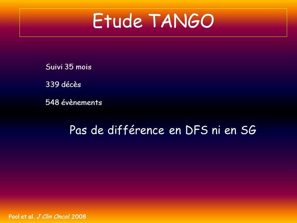 Etude TANGO Pas de différence en DFS ni en SG Suivi 35 mois 339 décès