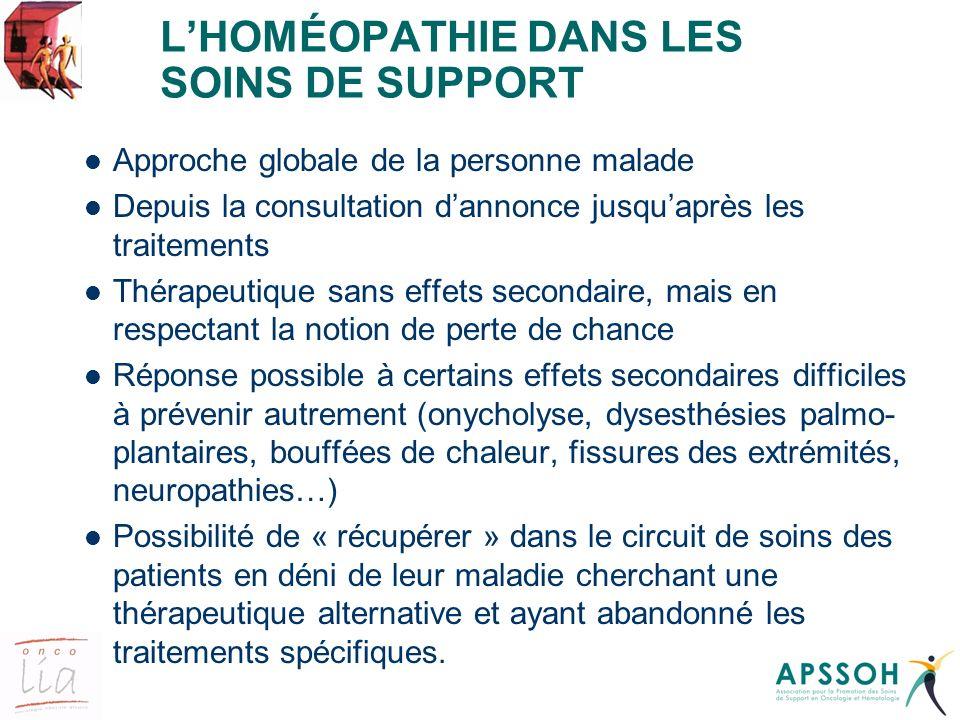 L'HOMÉOPATHIE DANS LES SOINS DE SUPPORT