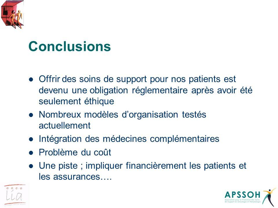 Conclusions Offrir des soins de support pour nos patients est devenu une obligation réglementaire après avoir été seulement éthique.
