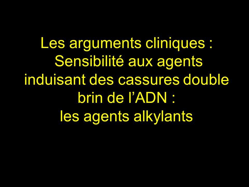 Les arguments cliniques : Sensibilité aux agents induisant des cassures double brin de l'ADN : les agents alkylants