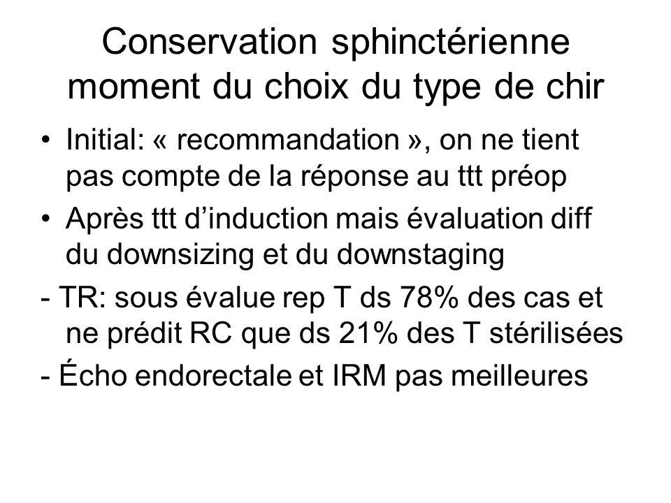Conservation sphinctérienne moment du choix du type de chir