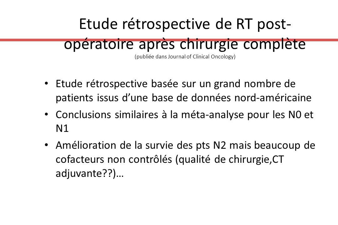 Etude rétrospective de RT post-opératoire après chirurgie complète (publiée dans Journal of Clinical Oncology)