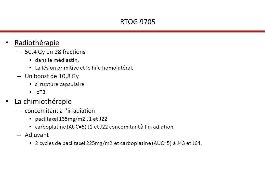 RTOG 9705 Radiothérapie La chimiothérapie 50,4 Gy en 28 fractions