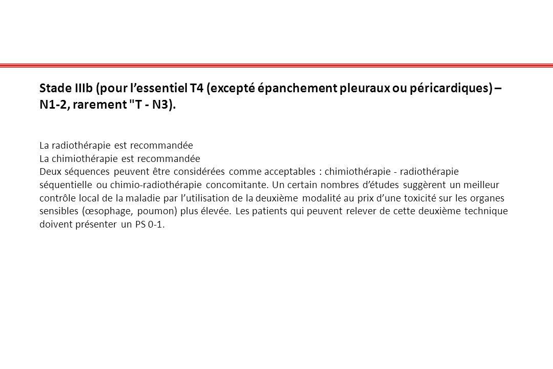 Stade IIIb (pour l'essentiel T4 (excepté épanchement pleuraux ou péricardiques) – N1-2, rarement T - N3).