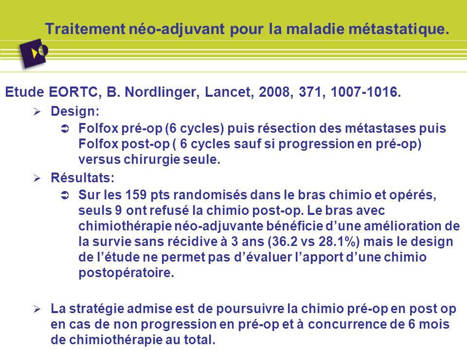 Traitement néo-adjuvant pour la maladie métastatique.