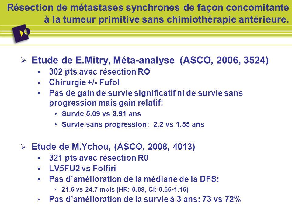 Etude de E.Mitry, Méta-analyse (ASCO, 2006, 3524)