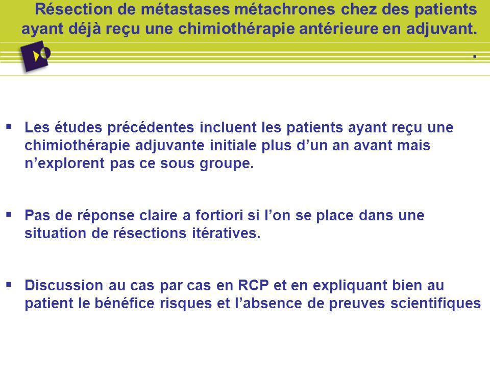 Résection de métastases métachrones chez des patients ayant déjà reçu une chimiothérapie antérieure en adjuvant. .