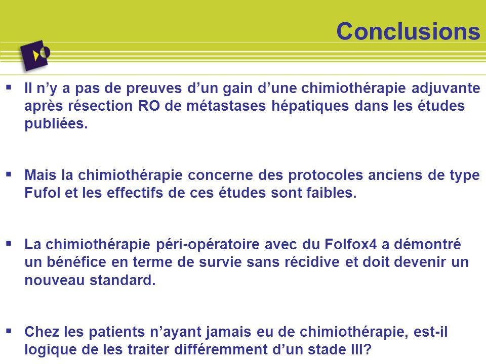 Conclusions Il n'y a pas de preuves d'un gain d'une chimiothérapie adjuvante après résection RO de métastases hépatiques dans les études publiées.