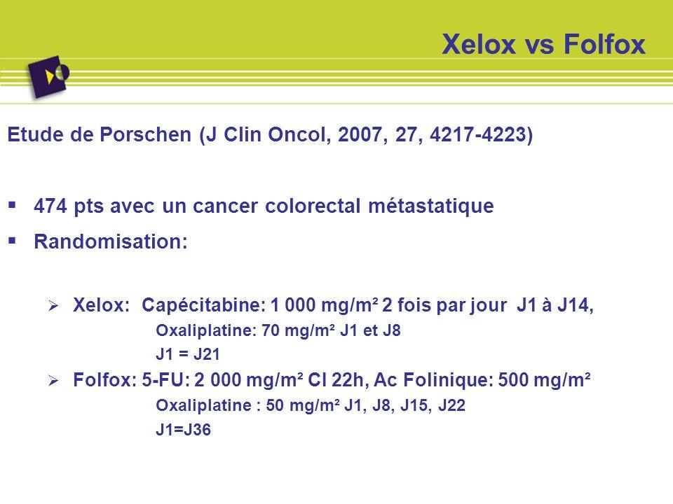 Xelox vs Folfox Etude de Porschen (J Clin Oncol, 2007, 27, 4217-4223)