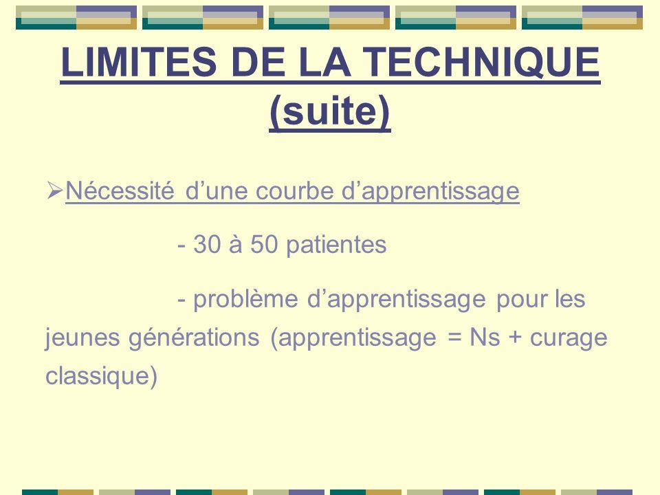LIMITES DE LA TECHNIQUE (suite)