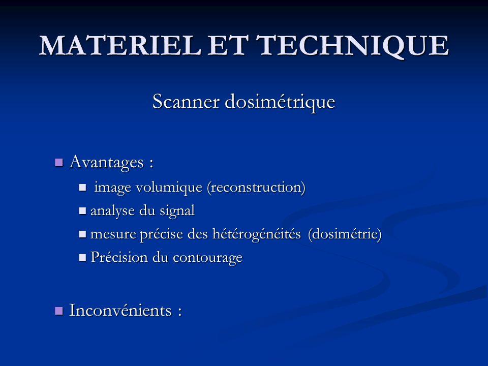 MATERIEL ET TECHNIQUE Scanner dosimétrique Avantages : Inconvénients :