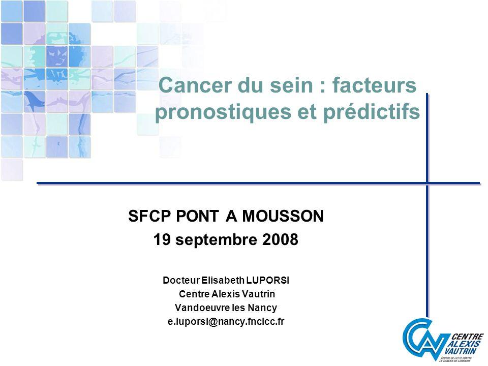 Cancer du sein : facteurs pronostiques et prédictifs