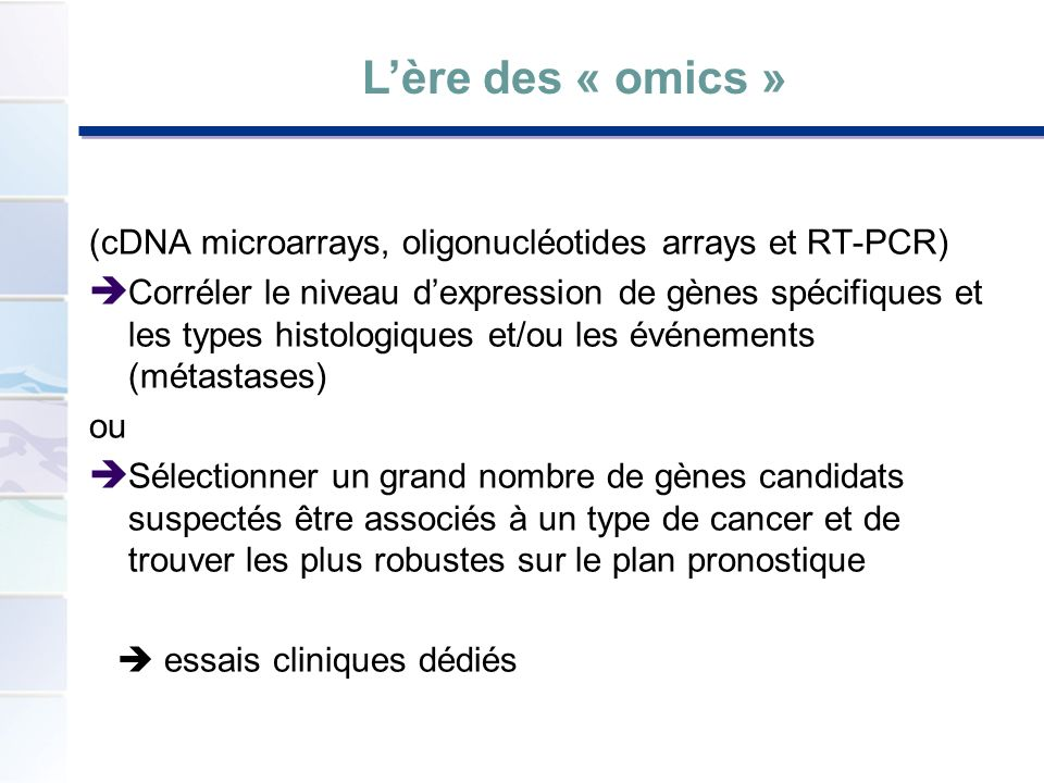 L'ère des « omics » (cDNA microarrays, oligonucléotides arrays et RT-PCR)