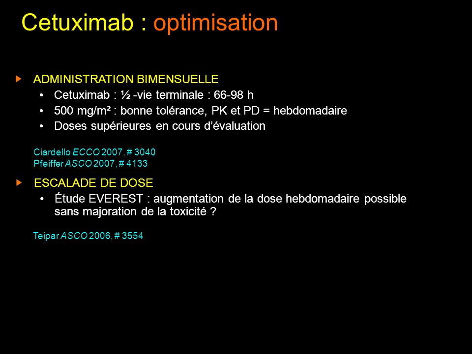 Cetuximab : optimisation