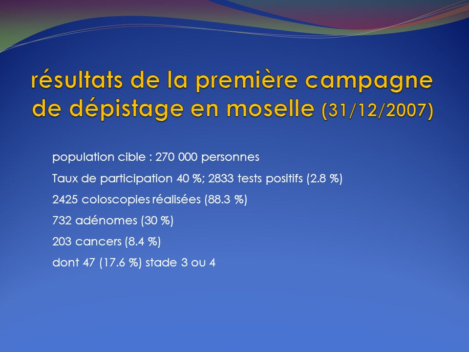 résultats de la première campagne de dépistage en moselle (31/12/2007)
