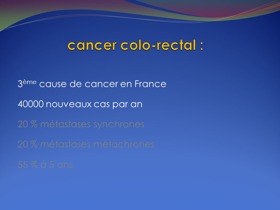 cancer colo-rectal : 3ème cause de cancer en France