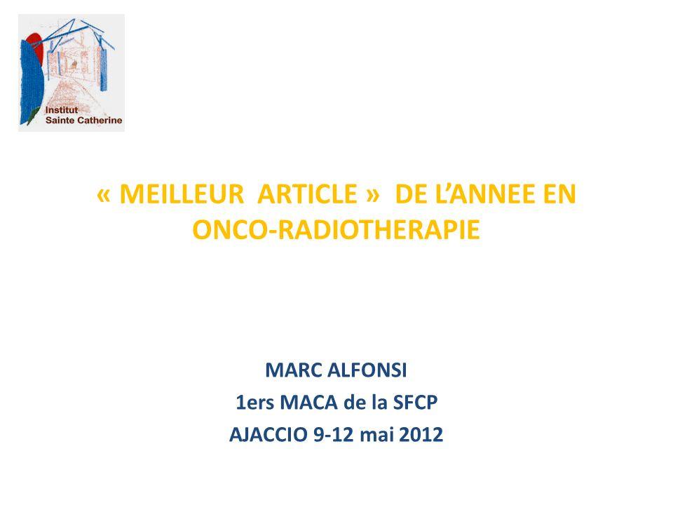 « MEILLEUR ARTICLE » DE L'ANNEE EN ONCO-RADIOTHERAPIE