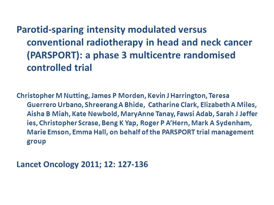 Parotid-sparing intensity modulated versus conventional radiotherapy in head and neck cancer (PARSPORT): a phase 3 multicentre randomised controlled trial