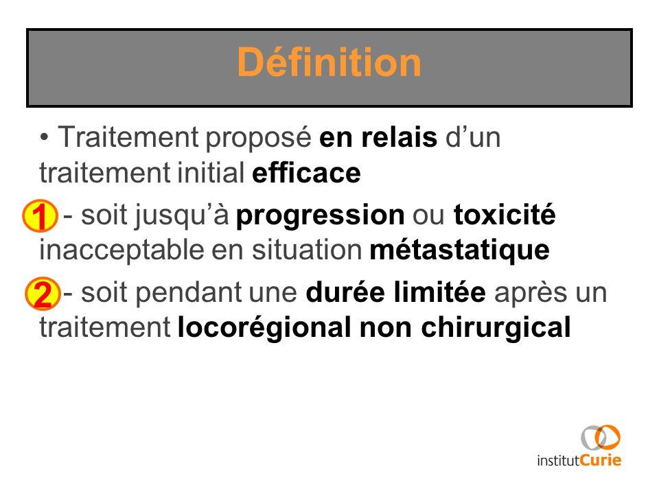 Définition Traitement proposé en relais d'un traitement initial efficace.
