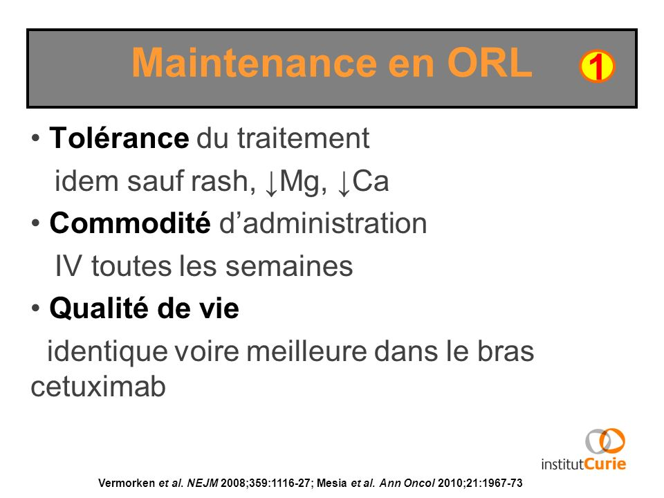 Maintenance en ORL 1 Tolérance du traitement idem sauf rash, ↓Mg, ↓Ca