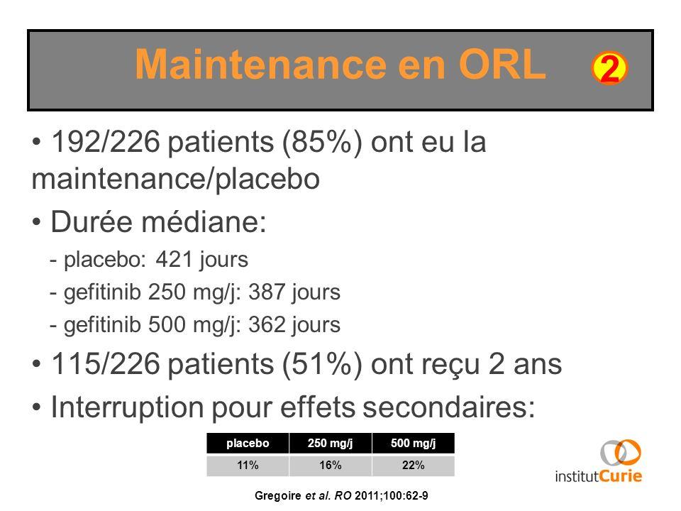 Maintenance en ORL2. 192/226 patients (85%) ont eu la maintenance/placebo. Durée médiane: - placebo: 421 jours.