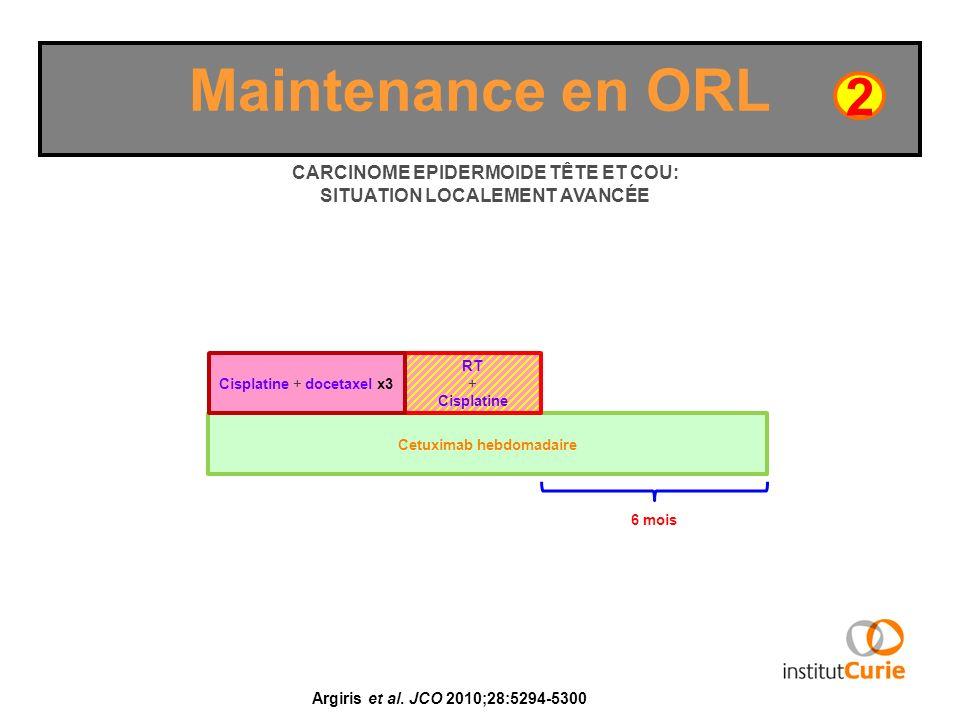 Maintenance en ORL 2. CARCINOME EPIDERMOIDE TÊTE ET COU: SITUATION LOCALEMENT AVANCÉE. Cisplatine + docetaxel x3.