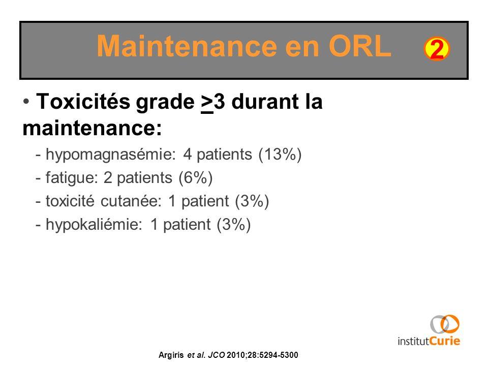 Maintenance en ORL 2 Toxicités grade >3 durant la maintenance: