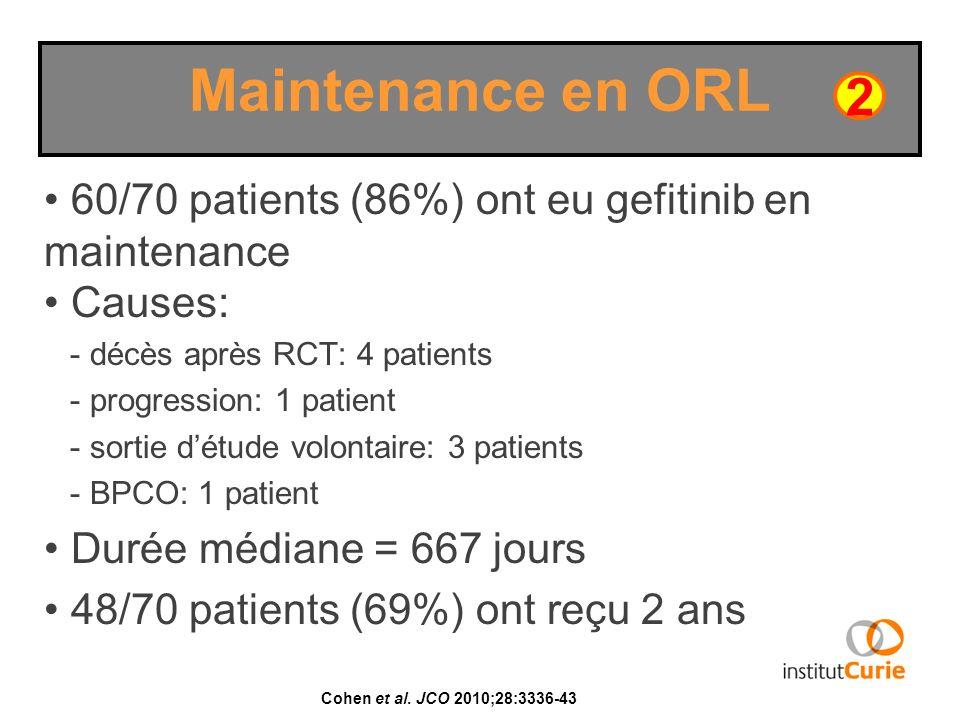 Maintenance en ORL2. 60/70 patients (86%) ont eu gefitinib en maintenance. Causes: - décès après RCT: 4 patients.