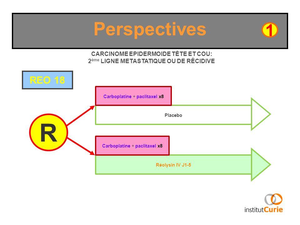 Perspectives1. CARCINOME EPIDERMOIDE TÊTE ET COU: 2ème LIGNE METASTATIQUE OU DE RÉCIDIVE. REO 18. Carboplatine + paclitaxel x8.