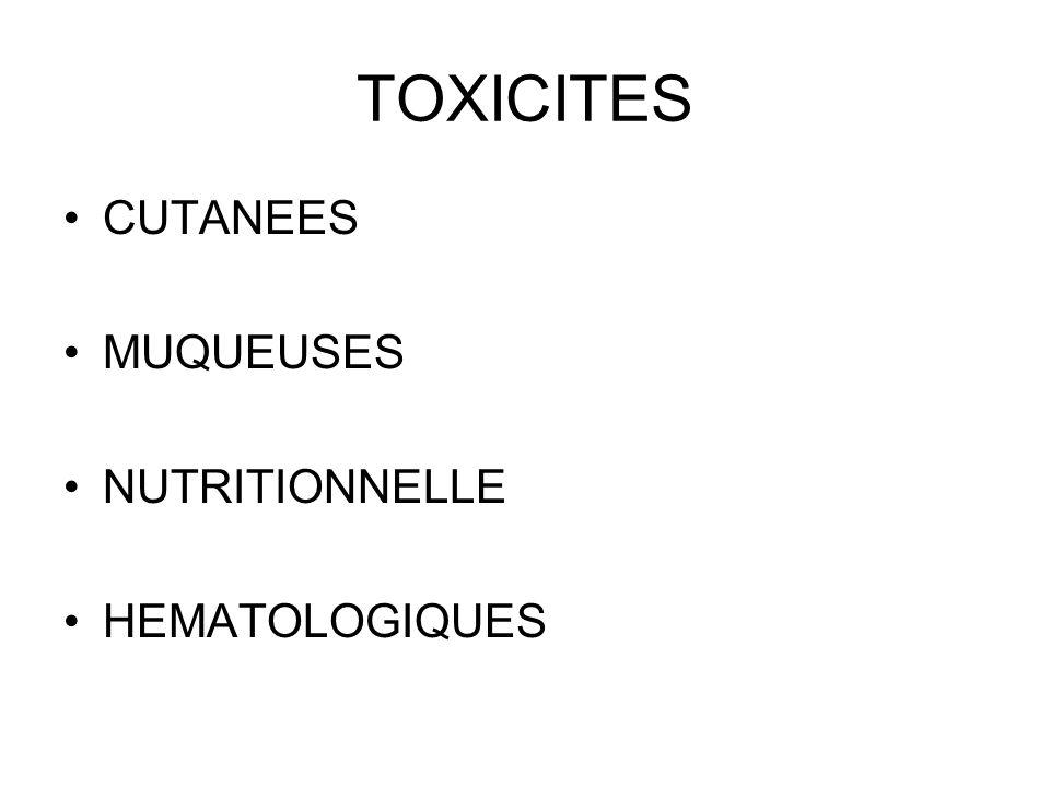 TOXICITES CUTANEES MUQUEUSES NUTRITIONNELLE HEMATOLOGIQUES