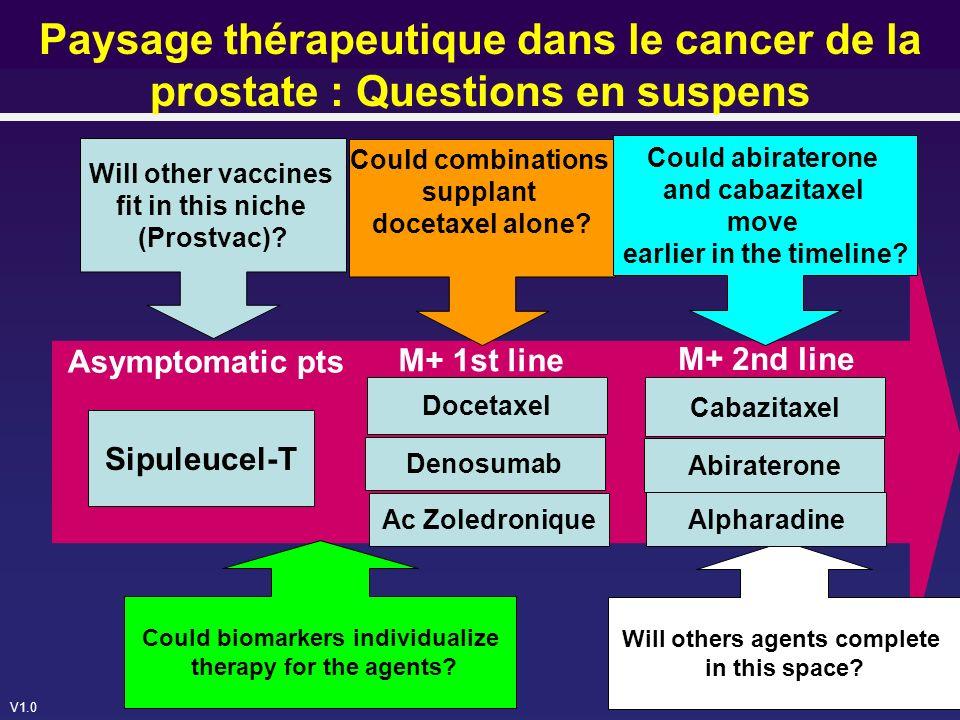 Paysage thérapeutique dans le cancer de la prostate : Questions en suspens