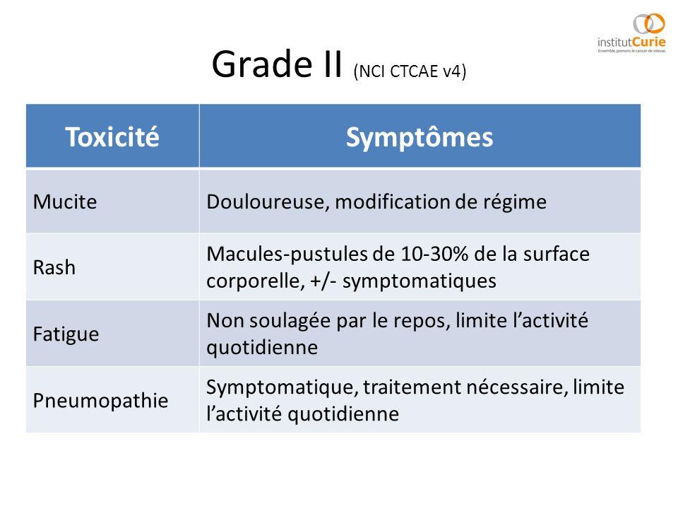 Grade II (NCI CTCAE v4) Toxicité Symptômes Mucite