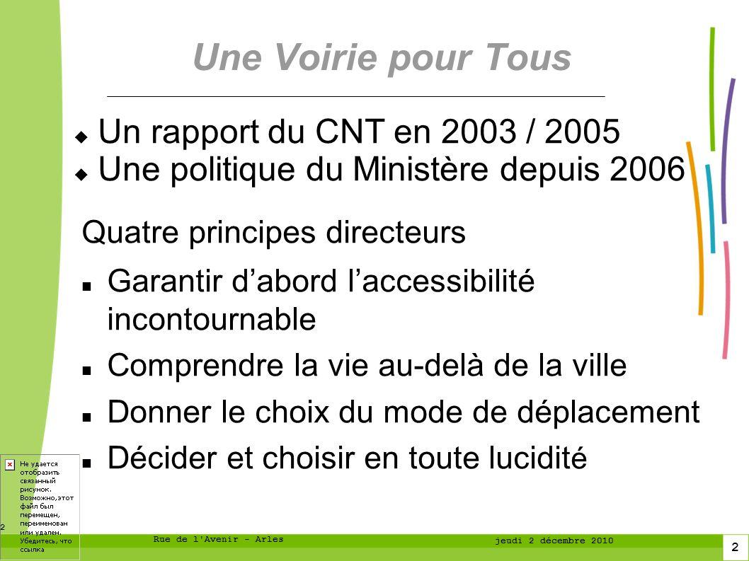 Une Voirie pour Tous Un rapport du CNT en 2003 / 2005