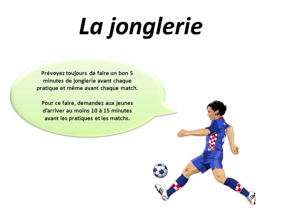 La jongleriePrévoyez toujours de faire un bon 5 minutes de jonglerie avant chaque pratique et même avant chaque match.