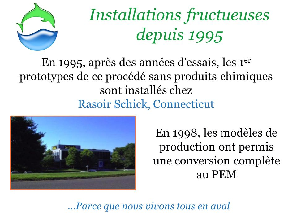 Installations fructueuses depuis 1995