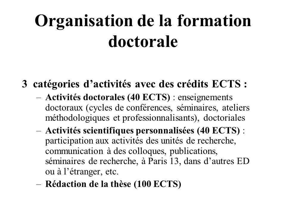 Organisation de la formation doctorale