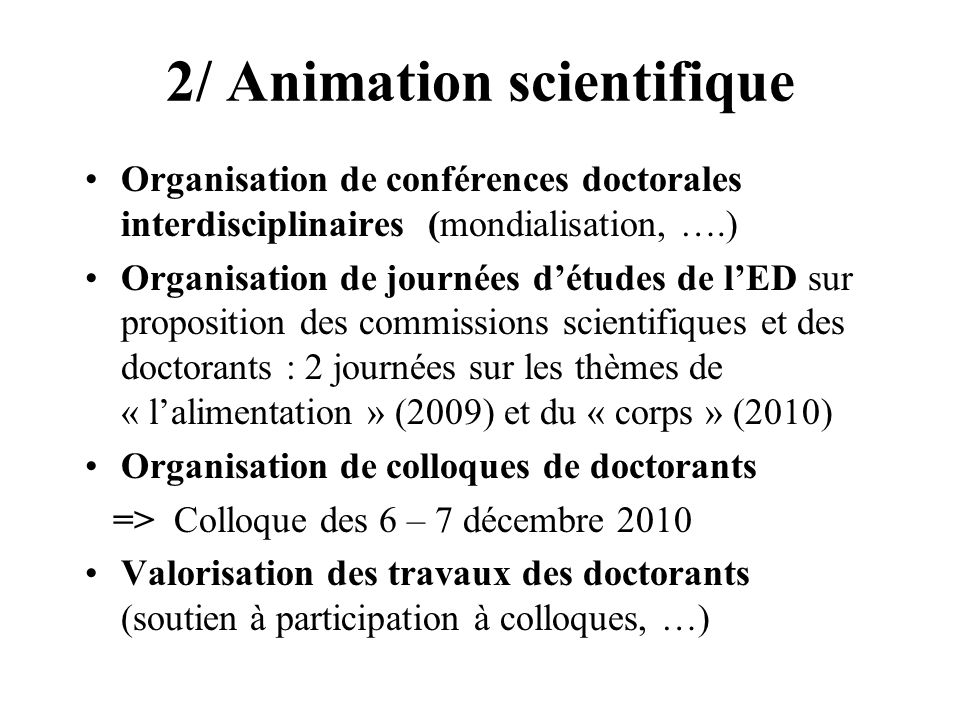 2/ Animation scientifique
