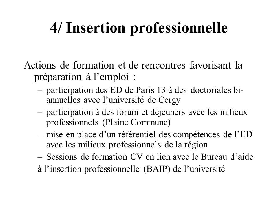 4/ Insertion professionnelle