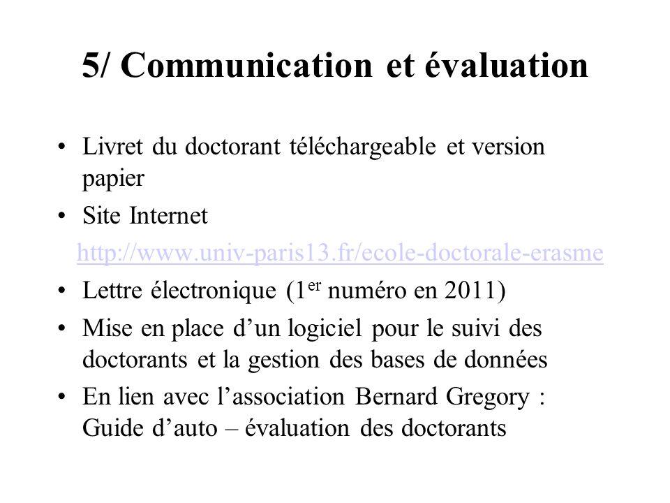 5/ Communication et évaluation