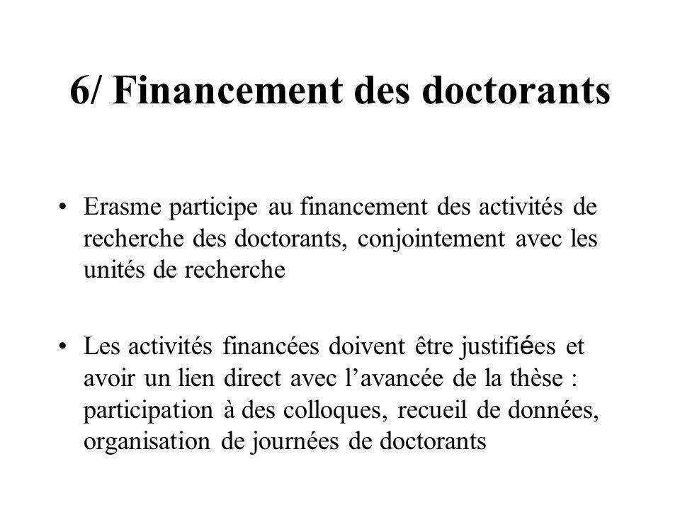 6/ Financement des doctorants