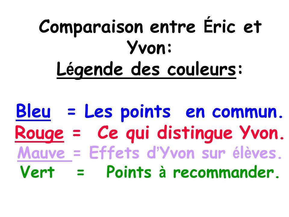 Comparaison entre Éric et Yvon: Légende des couleurs: Bleu = Les points en commun.