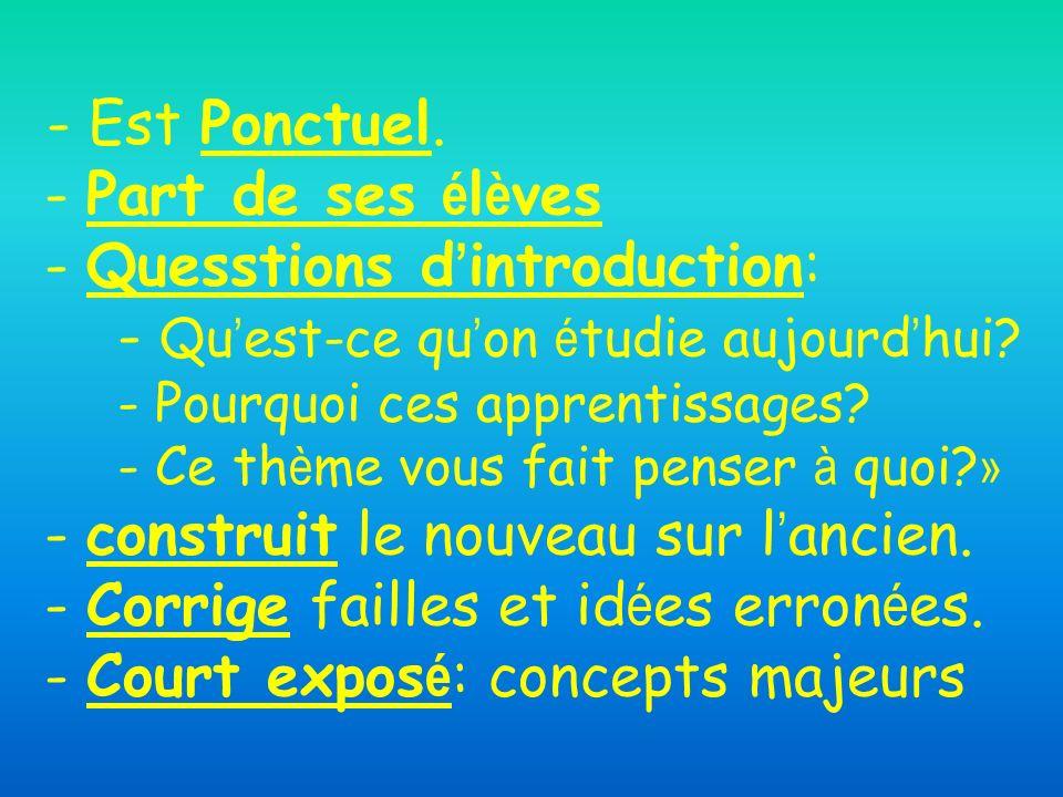 - Est Ponctuel. - Part de ses élèves - Quesstions d'introduction: